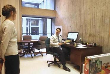 A CRAMPED VIEW: Councilor Josh Zakim's office overlooks cement walls. Zakim backed Ayanna Pressley.
